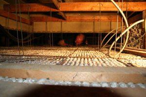 Tussen het dak en op het plafond