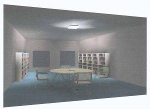 Lichtadvies bibliotheek met een plafondlamp en wandspotjes