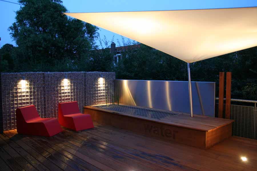 terras verlichting met wandlampen